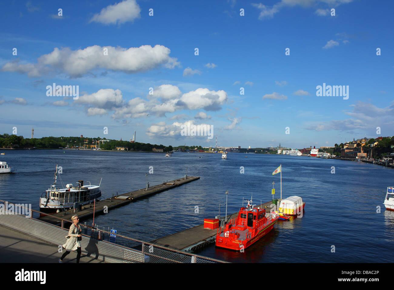 Boote in Stockholm, Schweden Stockbild