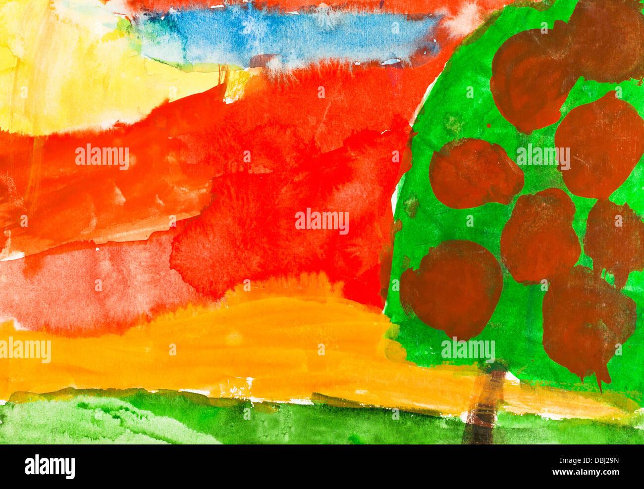 Kinder Malen Rote Herbst Sonnenuntergang Und Apfel Baum Mit Reifen