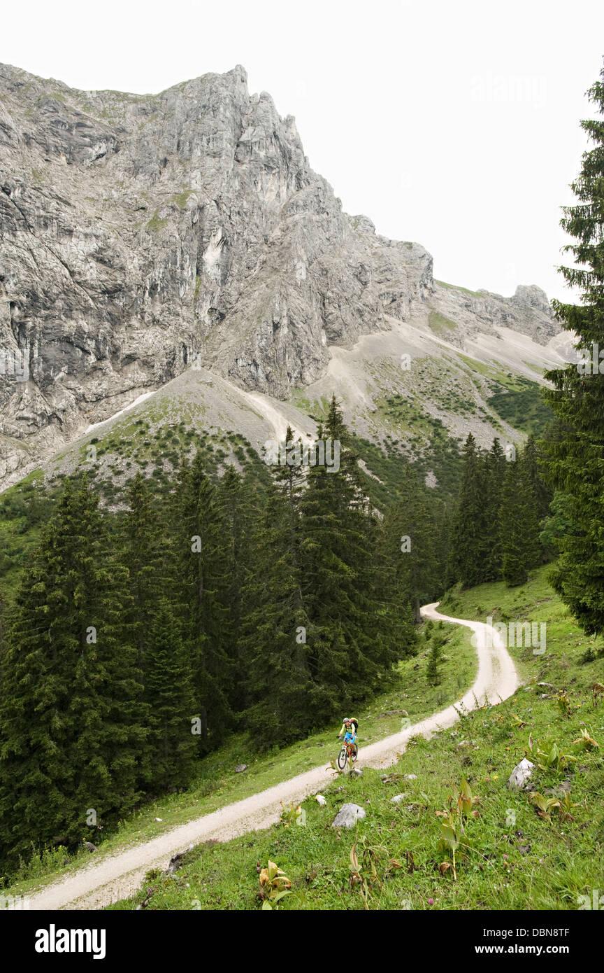 Mountainbiker unterwegs, Schattwald, Bayern, Deutschland Stockbild