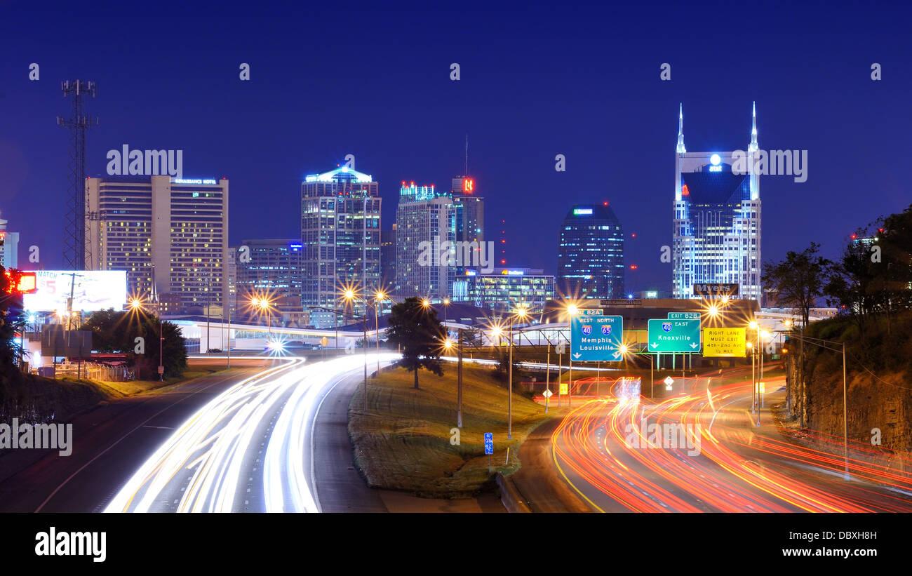 Skyline der Innenstadt von Nashville, Tennessee, USA. Stockbild