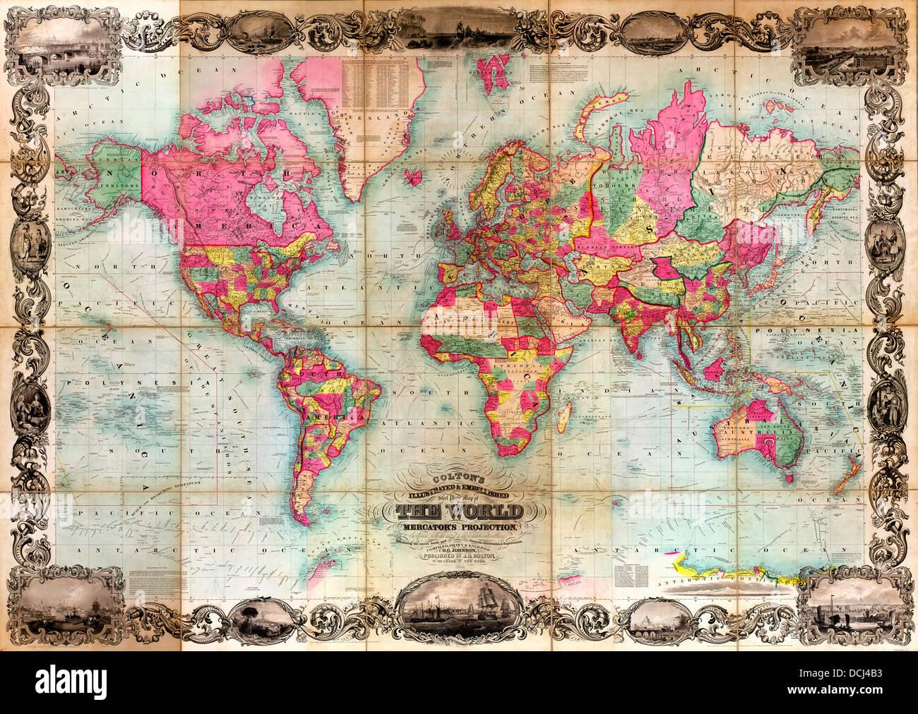 Colton ist illustriert & verschönert Stahlplatte Weltkarte auf Mercators-Projektion: zusammengestellt aus Stockbild