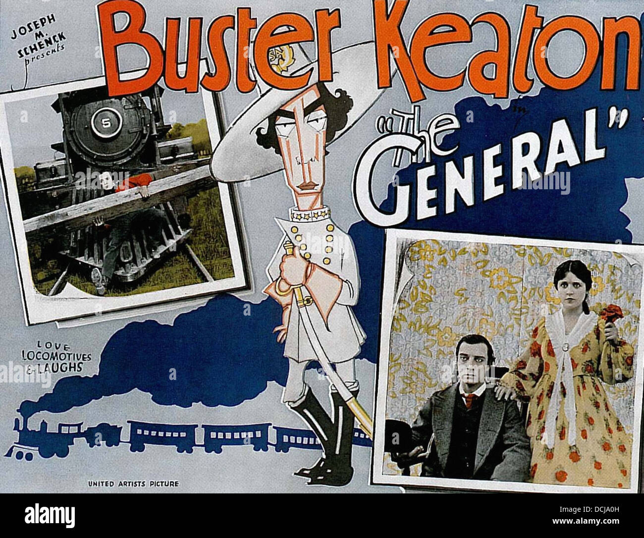 Das GENERAL - Buster Keaton Produktionen 1927 - Filmplakat Stockbild
