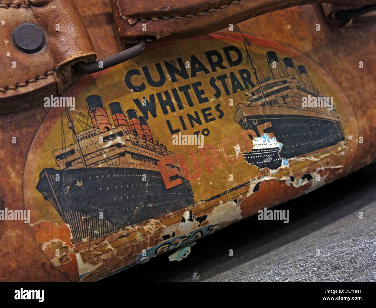 Dieses Stockfoto: Cunard White Star Linien, Gepäck und alten Kofferanhänger, Koffer Boxen - DCYHNT