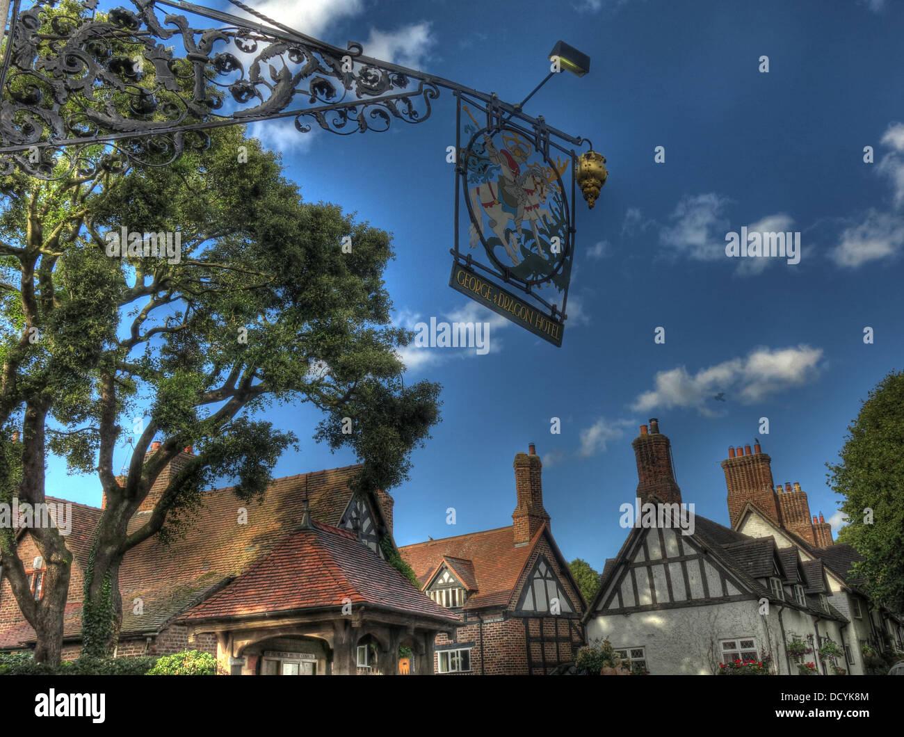 Dieses Stockfoto: George und Dragon Pub, Great Budworth Dorf, Cheshire, - DCYK8M