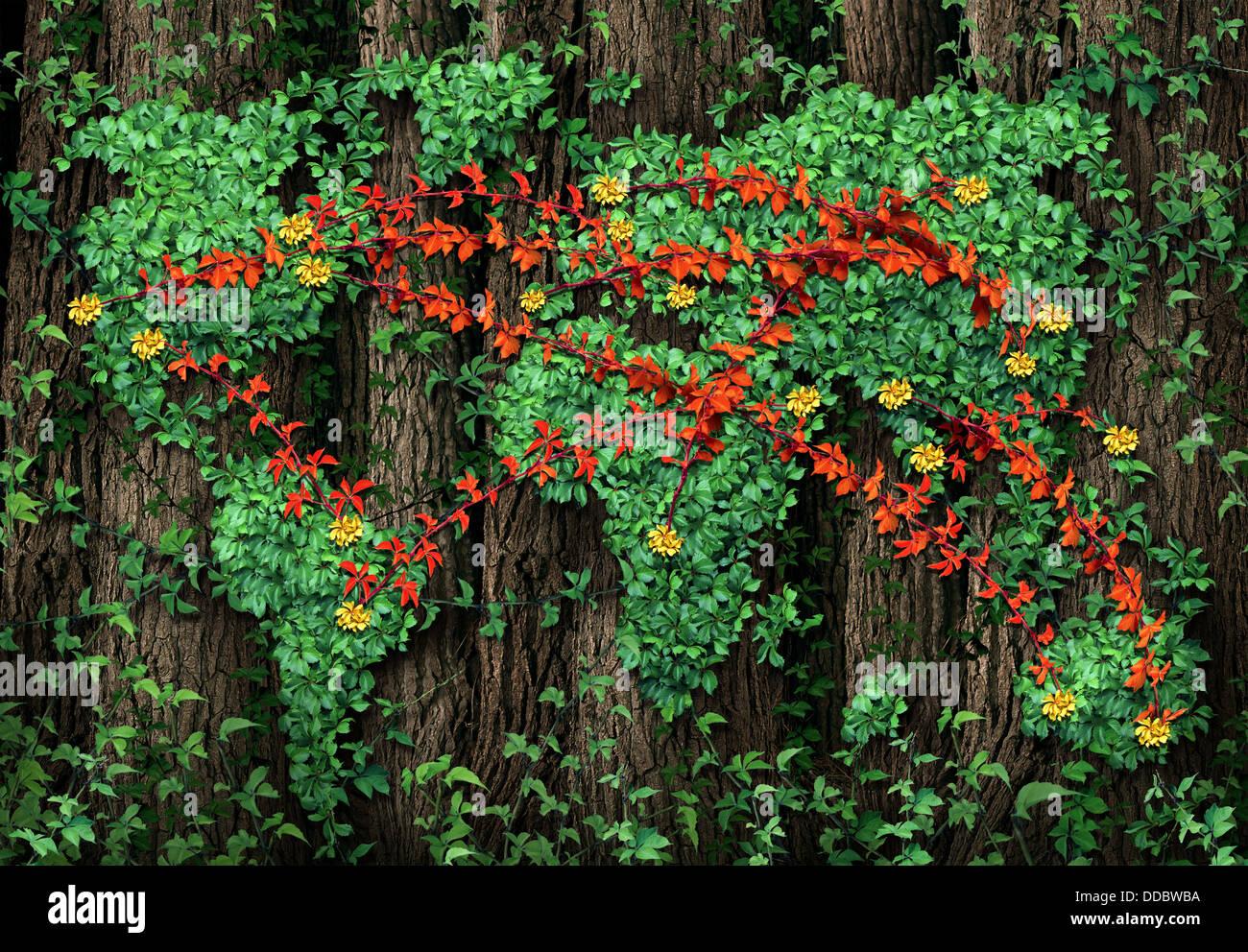 Erdverbindungen und globale Kommunikation Business-Konzept mit einer Gruppe von roten Reben geprägt als ein Stockbild