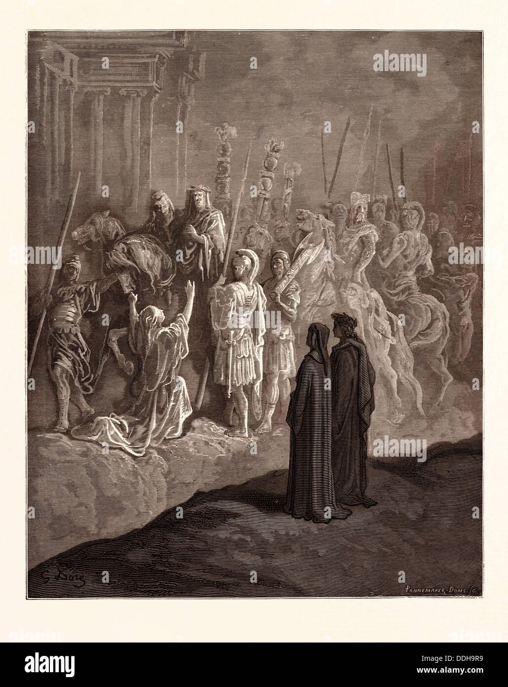 DIE RÖMISCHE WITWE UND DER KAISER TRAJAN, VON GUSTAVE DORÉ. Gustave Dore, 1832-1883, Französisch. Stockbild