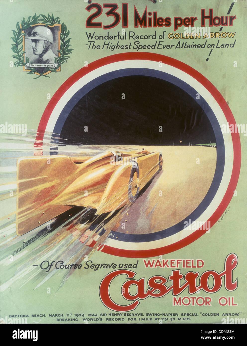 Castrol Motoröl Plakatwerbung. Stockbild