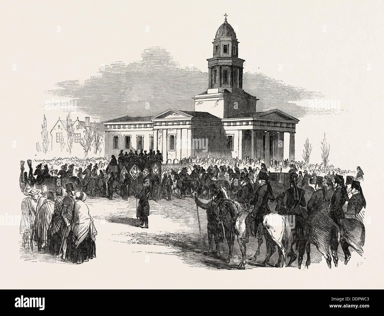 Beerdigung von der spät Herzog von NEWCASTLE, in MARKHAM-CLINTON, UK, 1851 Gravur Stockbild