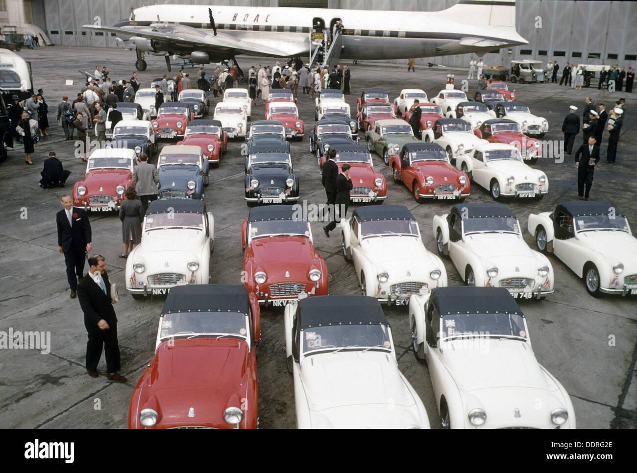 AUSTIN HEALEY SPRITE Autos stellten sich für export nach Amerika im Jahre 1961 Stockbild
