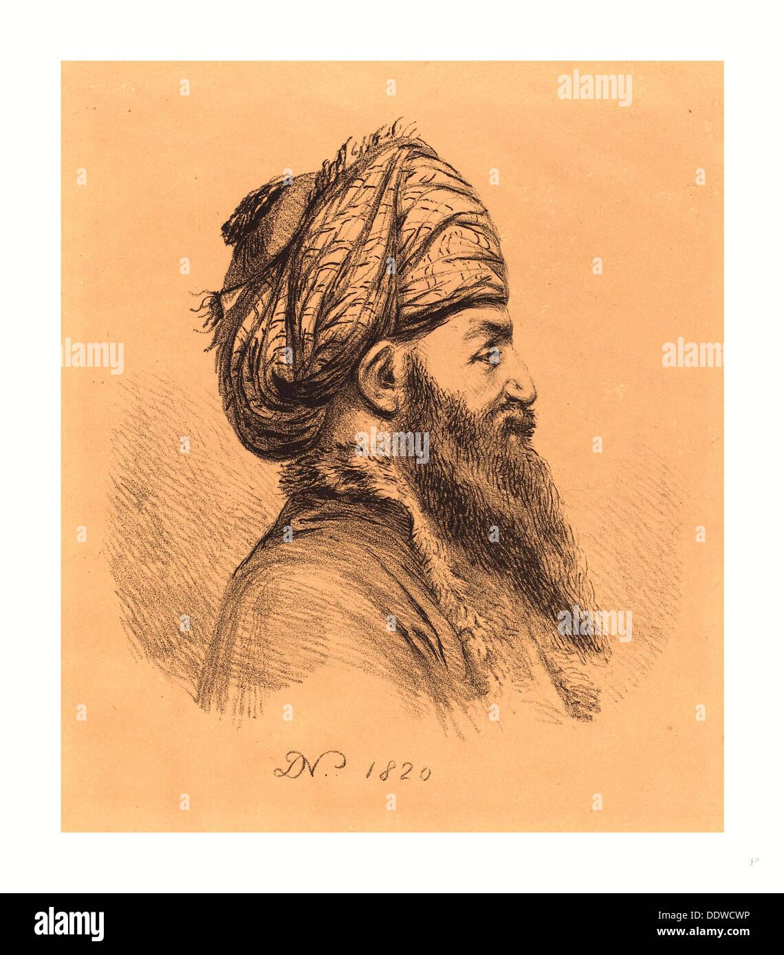 Baron Dominique Vivant Denon (Französisch, 1747 1825), Profil Head of Oriental mit Turban, Lithographie 1820, Stockfoto
