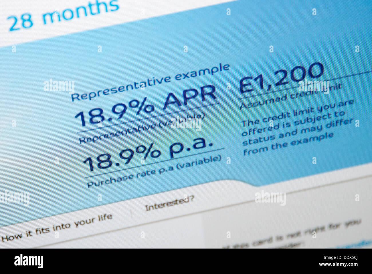 Website mit Interesse Preise 18,9 % online-Kredite Stockbild