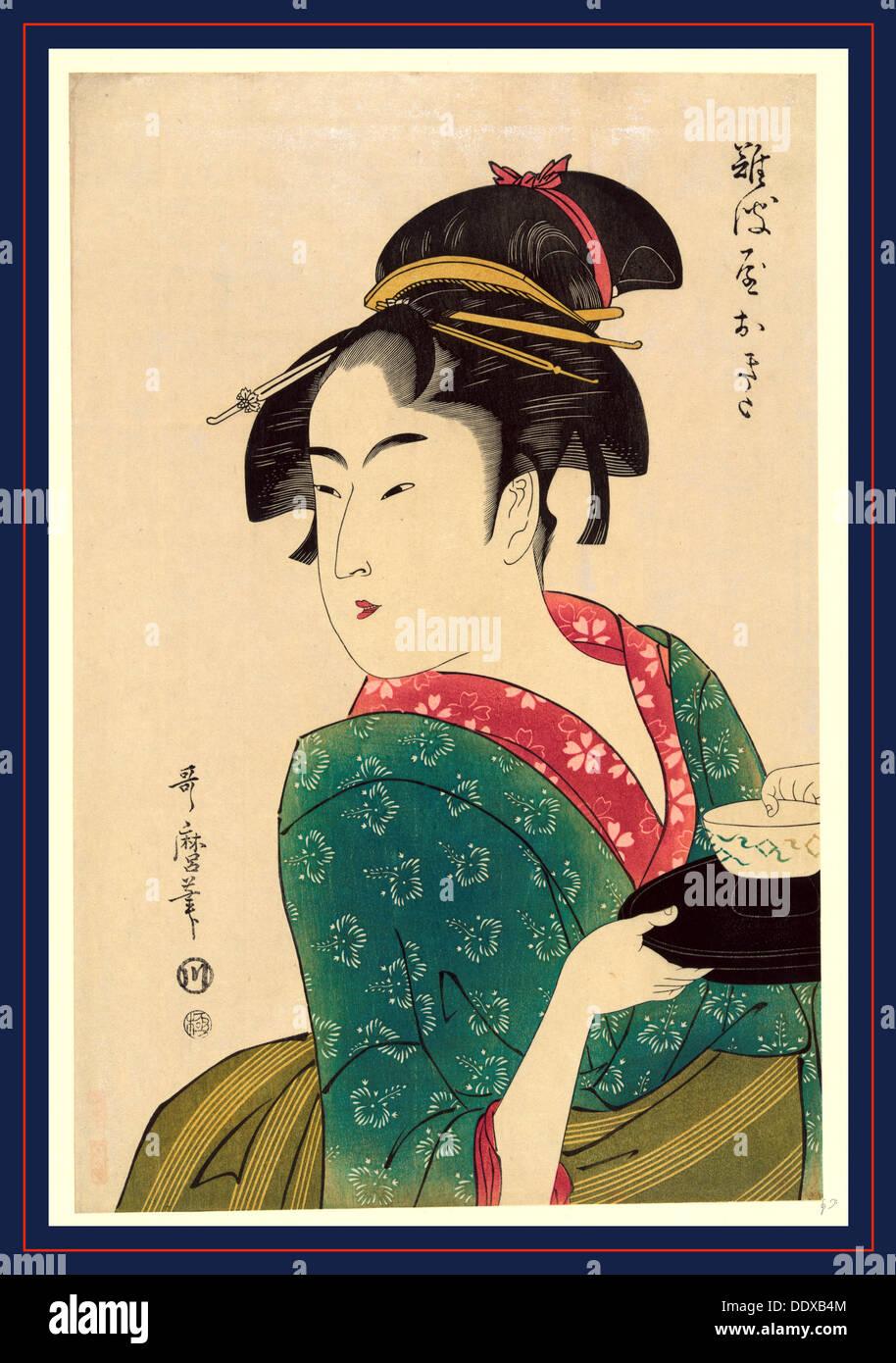 Naniwaya Okita, Okita Naniwa-ya. [1793, später gedruckt], 1 print: Holzschnitt, Farbe, Print zeigt Naniwaya Okita Stockfoto