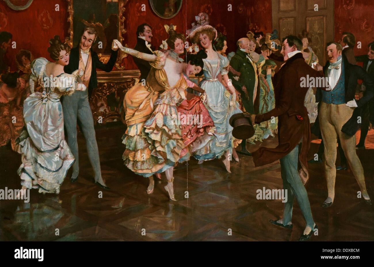 Tanz-Gemälde von Leopold Schmutzler 1864-1941, böhmischer Maler, lebte in Deutschland. tanzen, Tänzer, jung, Bewegung, Stockfoto