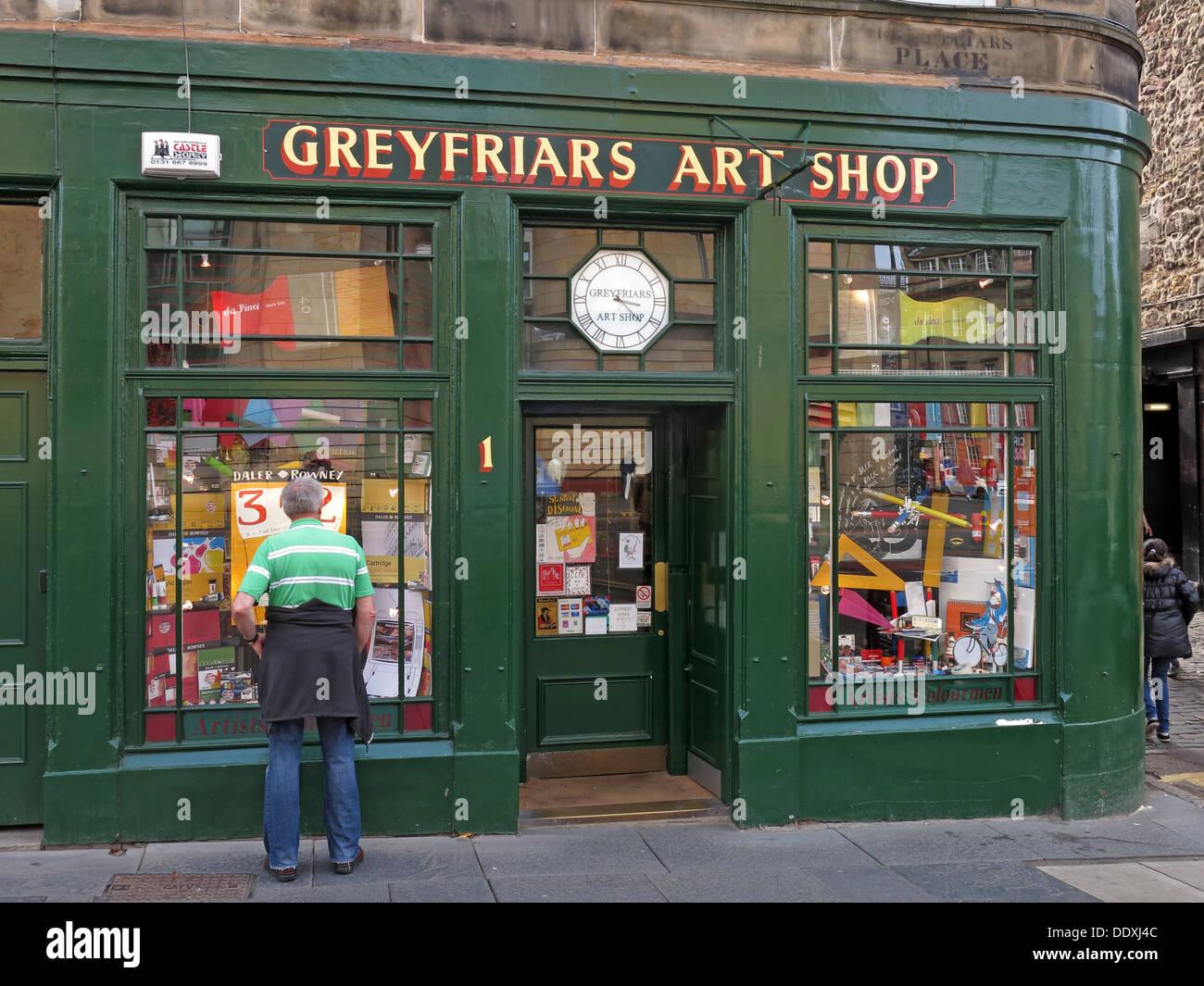 Laden Sie dieses Alamy Stockfoto Greyfriars Art Shop, Edinburgh, Schottland, Großbritannien, EH1 2QQ - DDXJ4C
