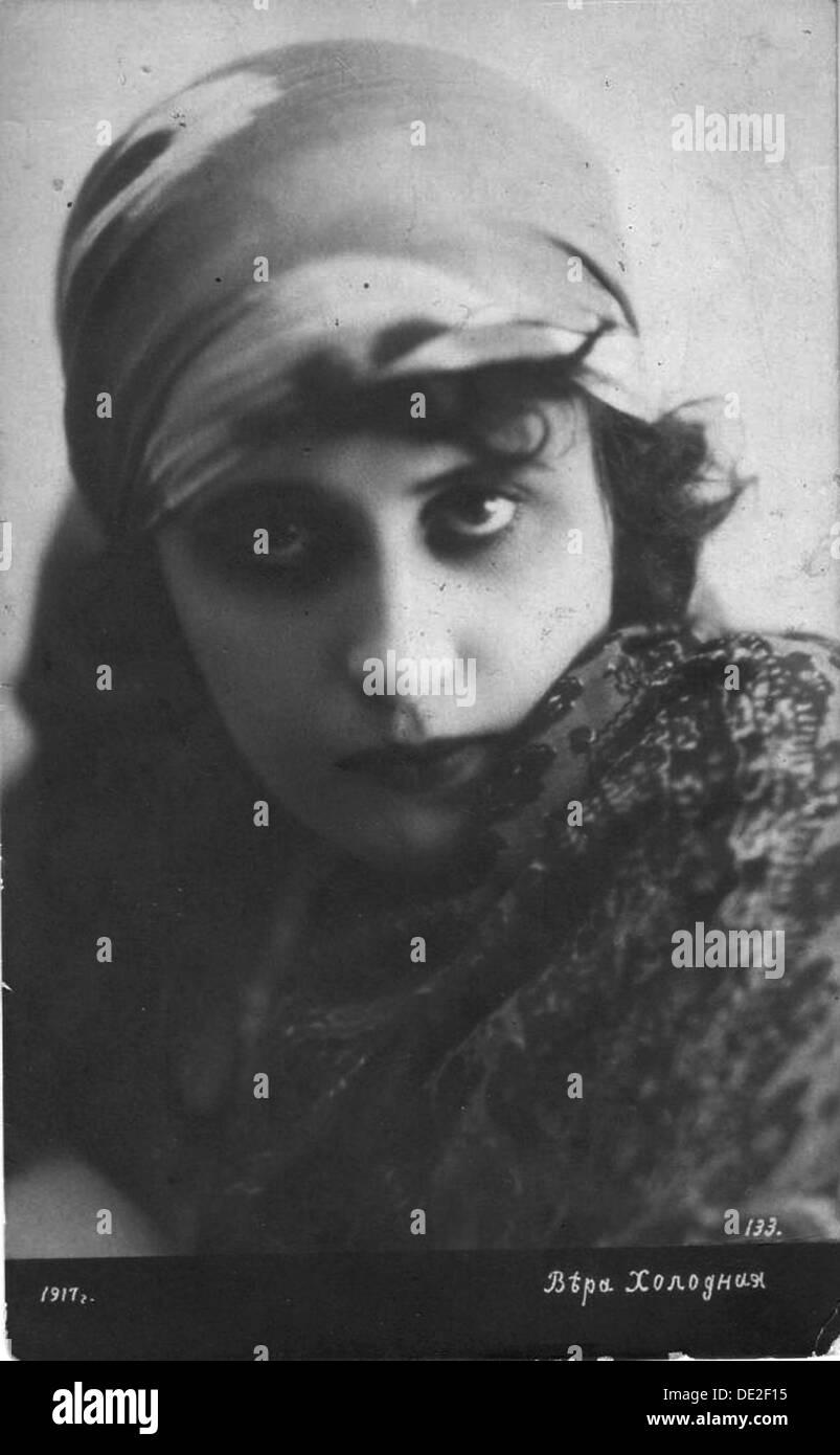 Vera Kholodnaya, Russischer Stummfilm-Schauspielerin, 1916. Stockbild