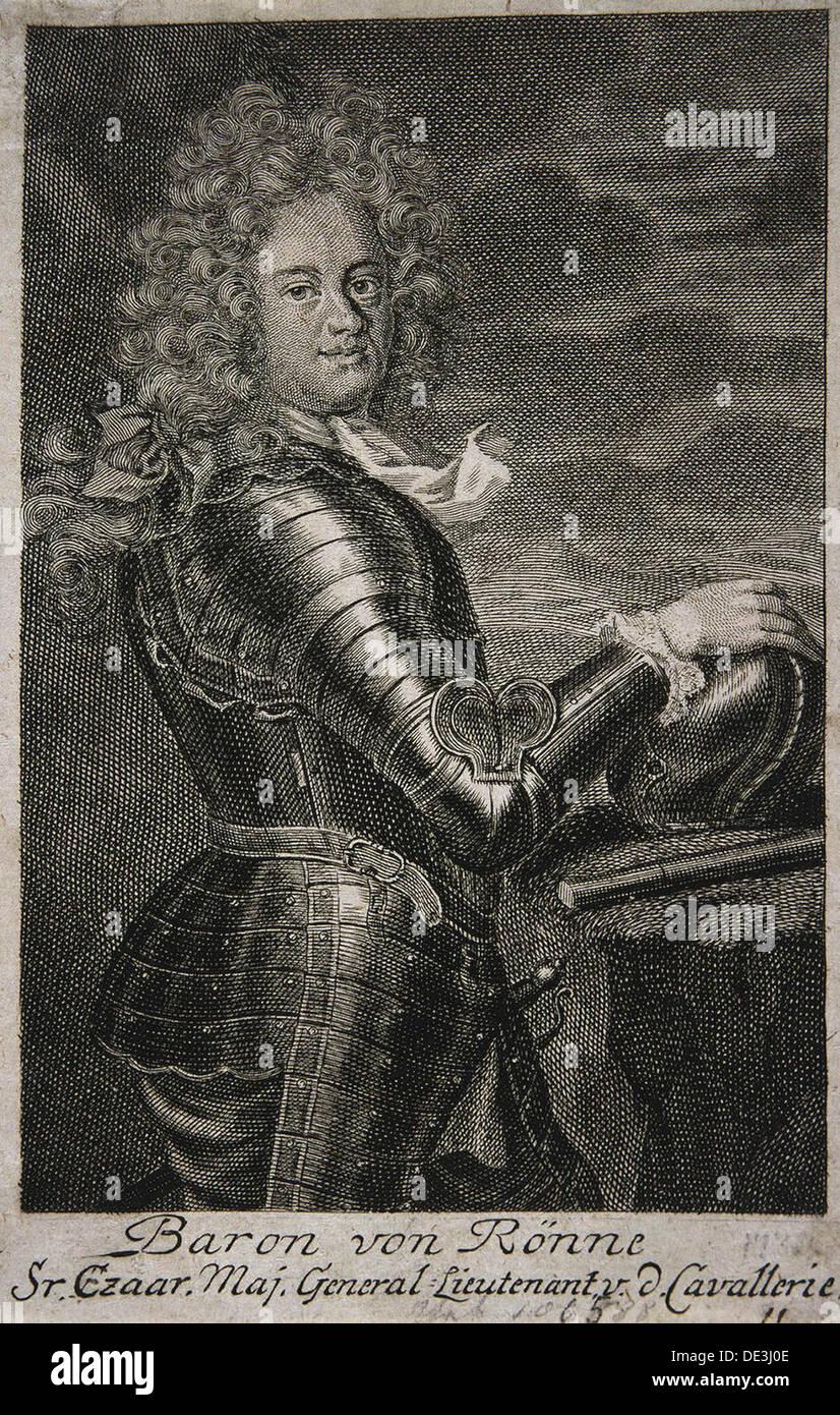 """Porträt von Baron Carl Ewald von Roenne (1663â? """"1716). Künstler: anonym Stockbild"""
