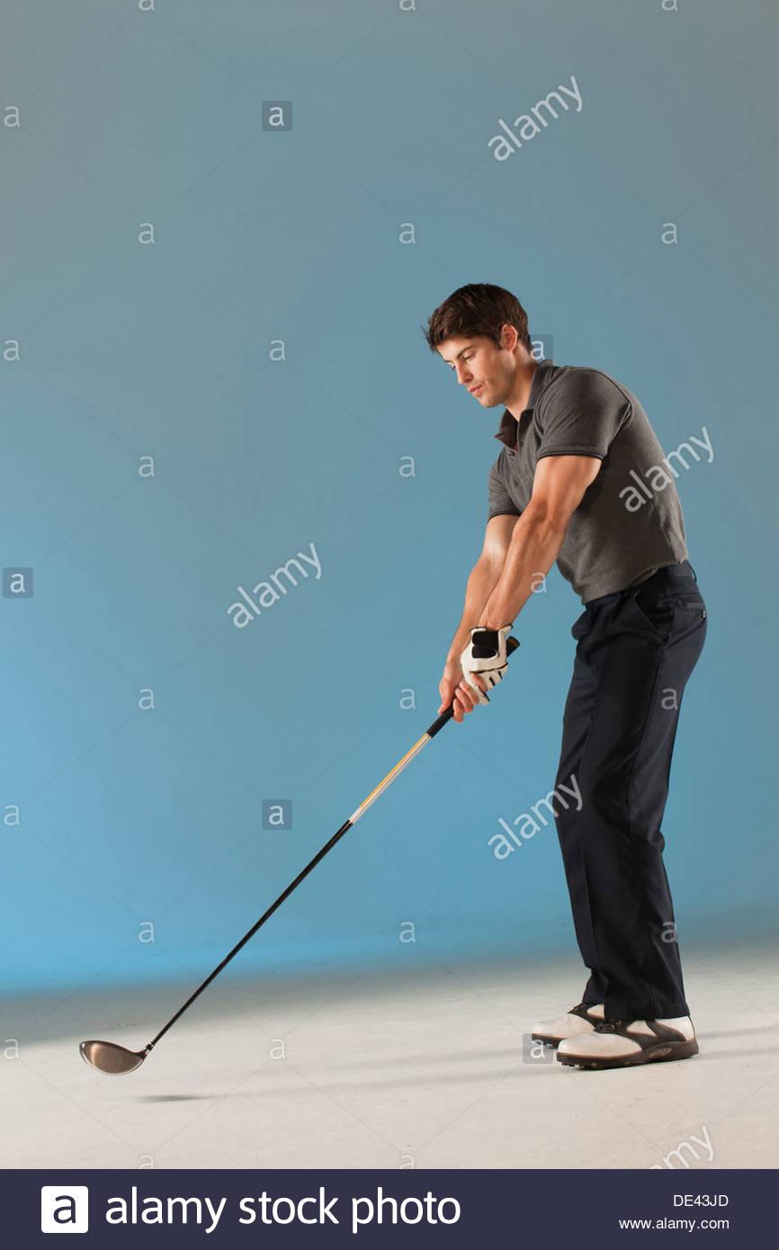 Golfspieler bereit, swing club Stockbild