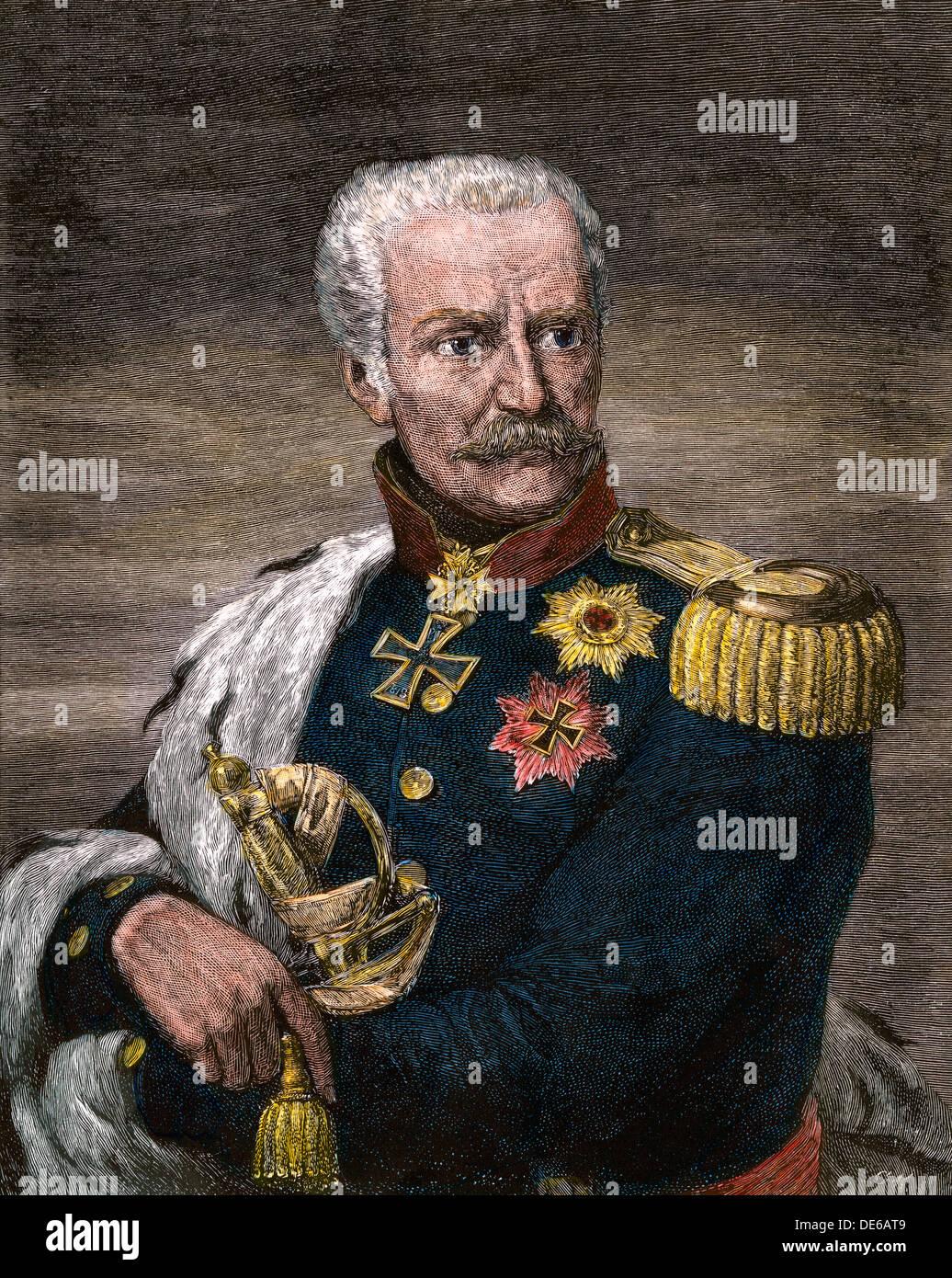 Feldmarschall Gebhard Leberecht von Blücher, preußischer Kommandant bei Waterloo. Stockbild