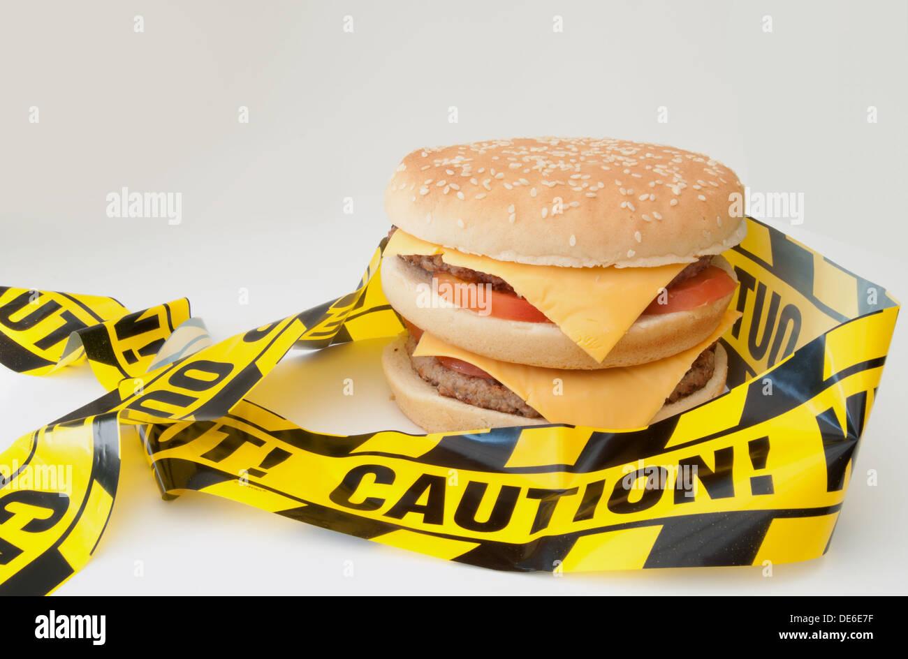 Ungesunde Lebensmittel Warnung Stockbild