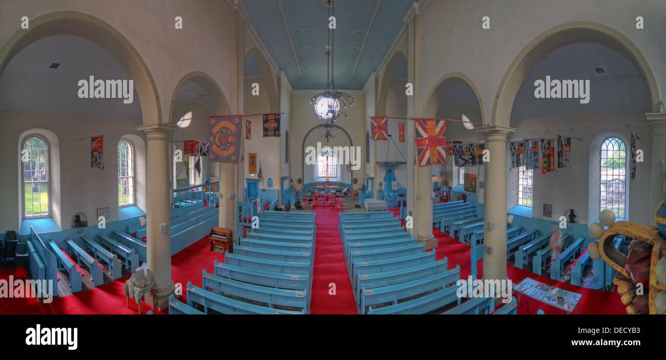 Laden Sie dieses Alamy Stockfoto Panorama von Canongate Kirk Kirche innen, 153 Canongate, Edinburgh, Midlothian EH8 8 - DECYB3