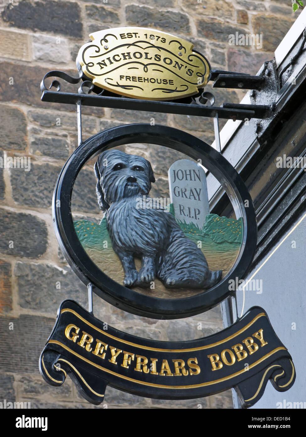 Laden Sie dieses Alamy Stockfoto Greyfriars Bobby Pub Schild, Old Town, Hauptstadt Edinburgh, Schottland, Vereinigtes Königreich - DED1B4