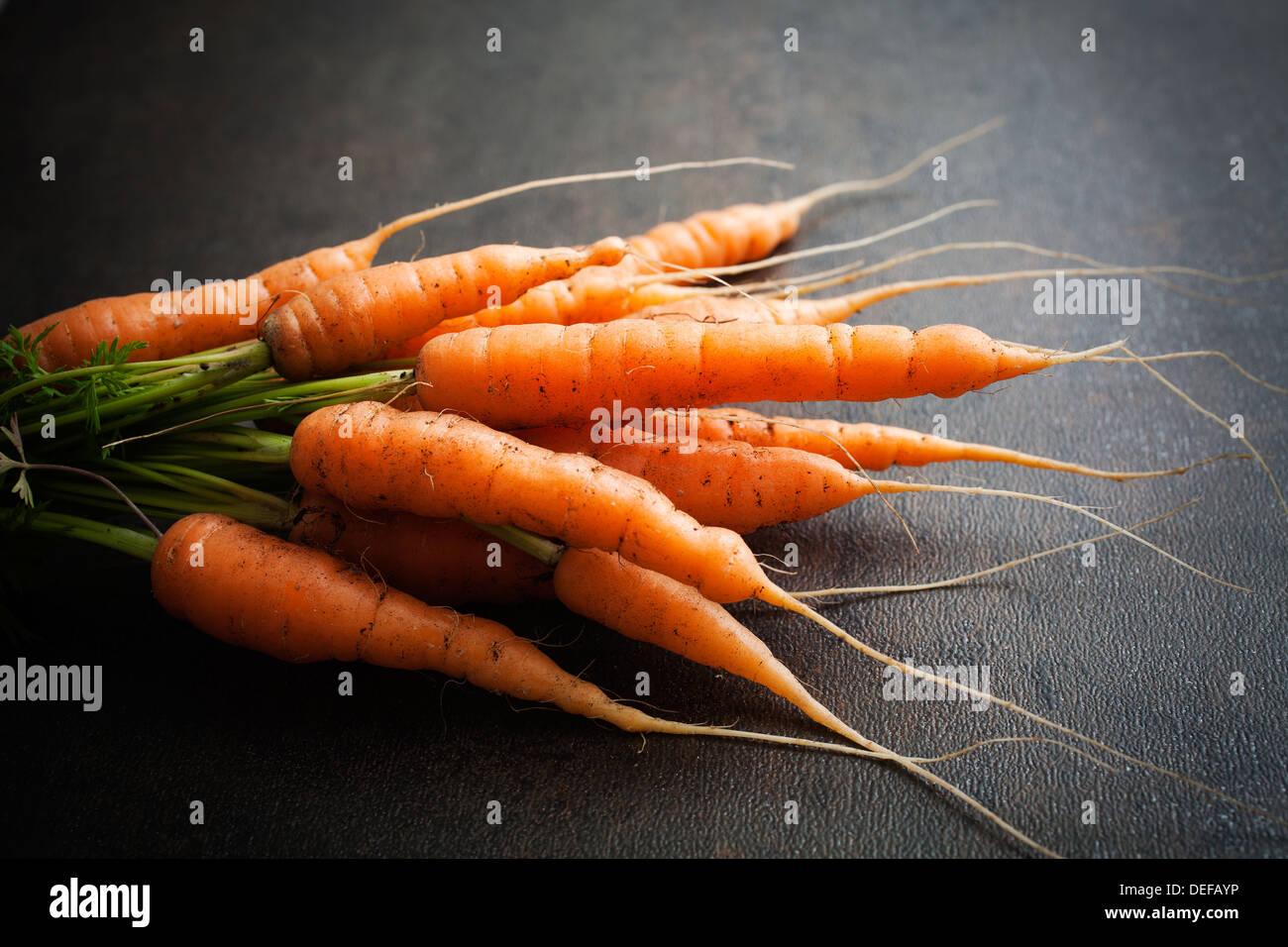 Handvoll frische Karotten auf dunklem Hintergrund Stockbild