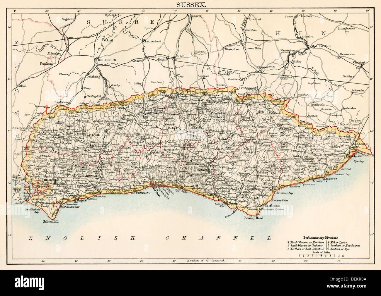 Karte von Sussex, England, der 1870er Jahre. Stockbild