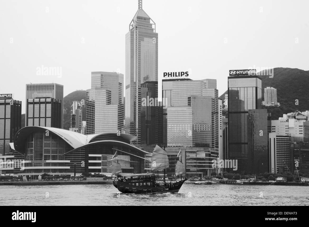 Junk-e-Stil-Boot im Hafen, Hong Kong Stockbild