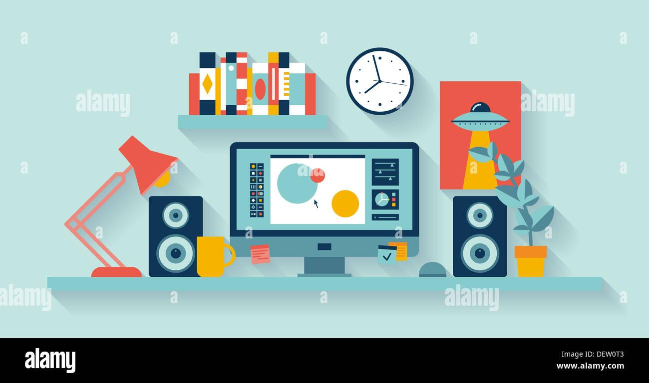 Darstellung der modernen Büroeinrichtung mit Designer desktop zeigt Anwendung kreativer Designprozess Stockbild