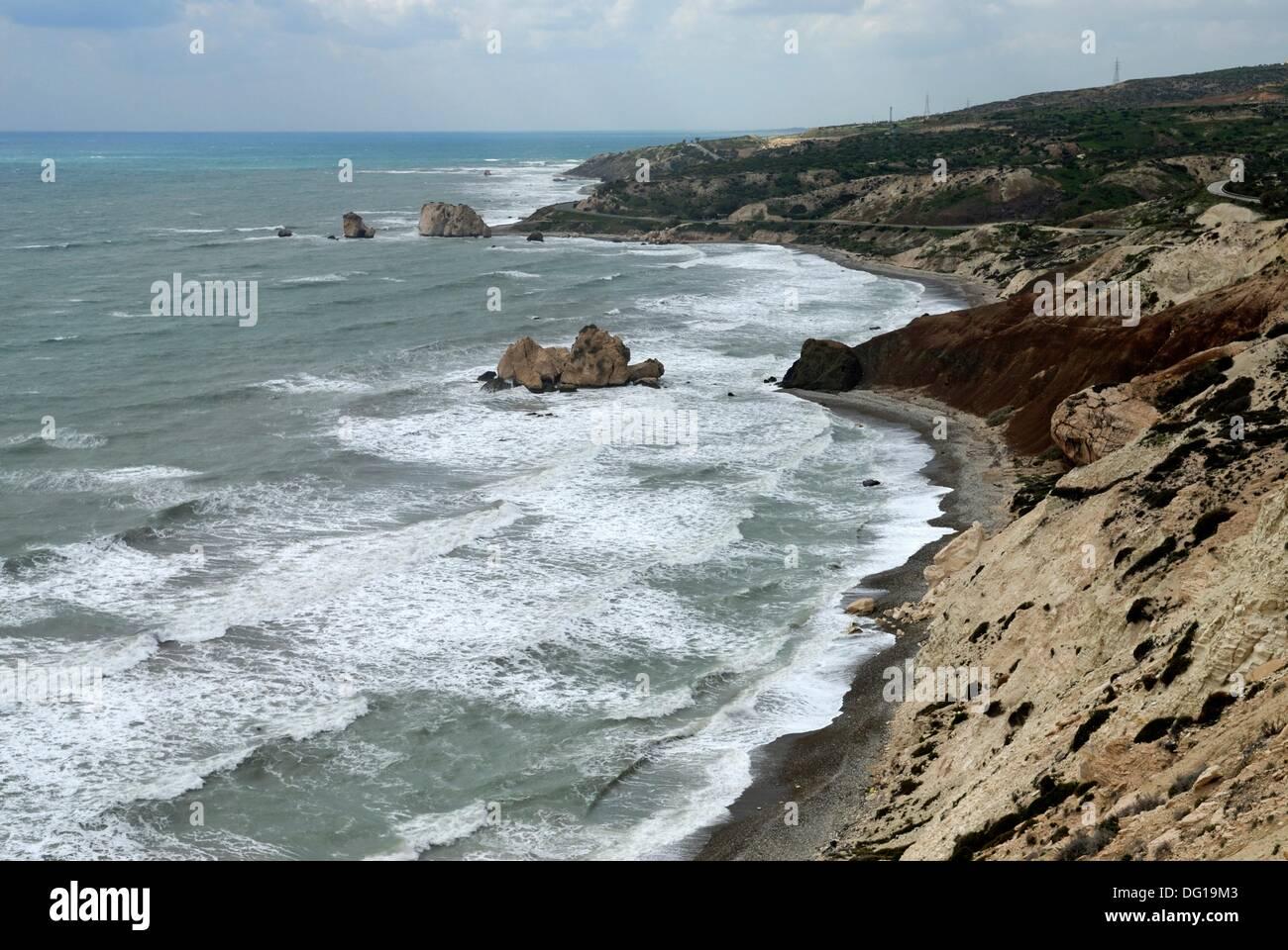 Petra Tou Romiou Website, legendäre Aphrodite´s Geburtsort, Zypern, östlichen Mittelmeer Insel, Eurasien Stockbild