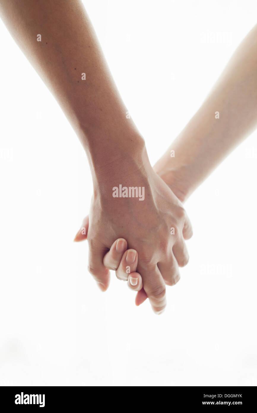 Mann und Frau Hand in Hand, portrait Stockbild