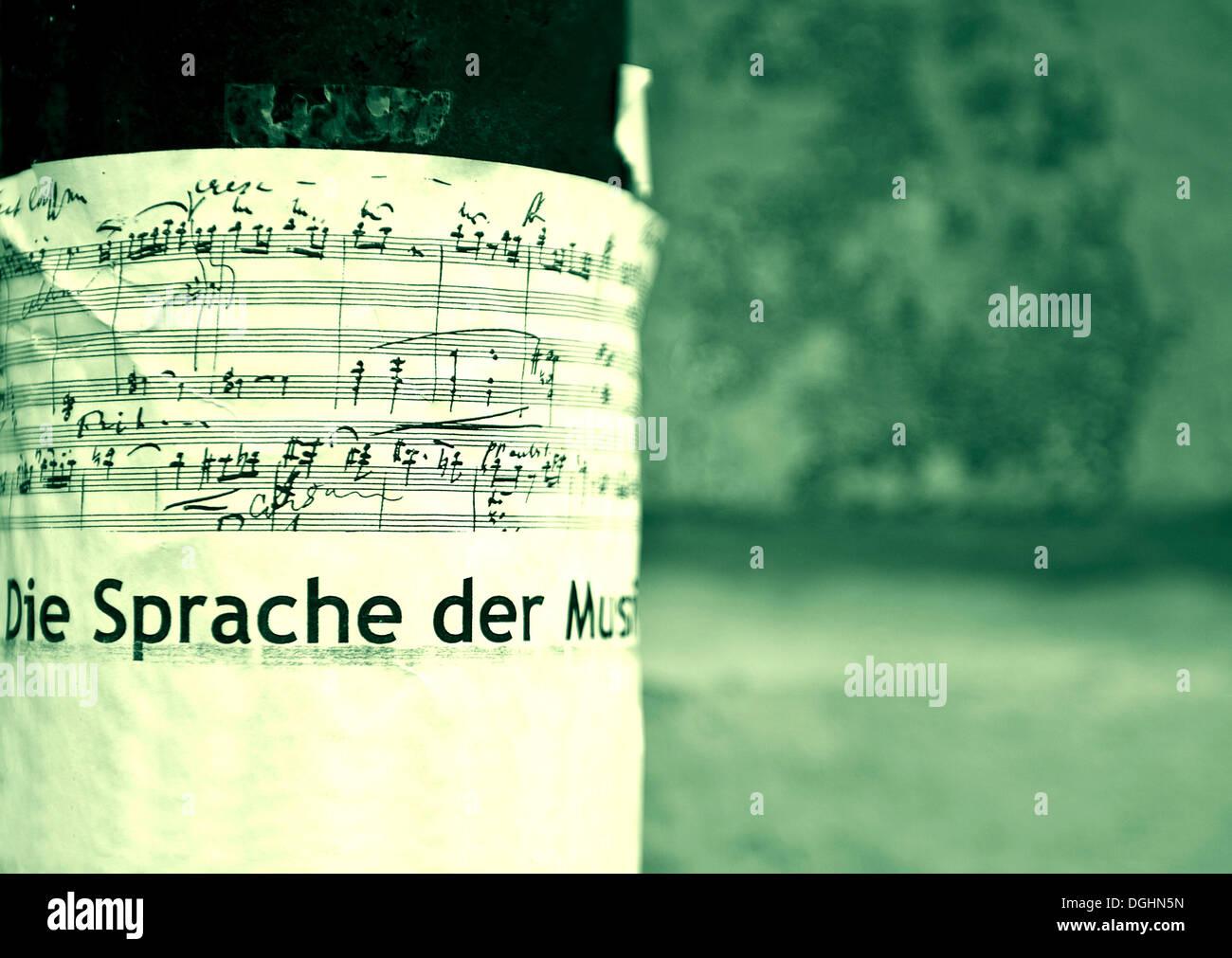 """Plakat auf Musik, """"Die Sprache der Musik"""", Deutsch für """"Sprache der Musik Stockbild"""