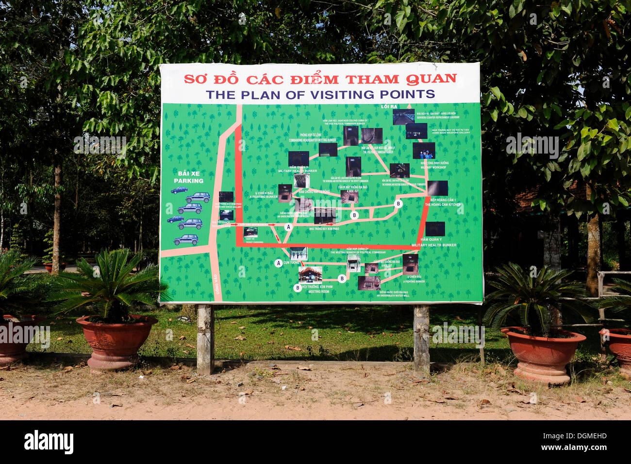 Sitemap der Points of Interest in der Open-Air-Kriegsmuseum in Cu Chi, Süd-Vietnam, Vietnam, Südostasien, Stockbild