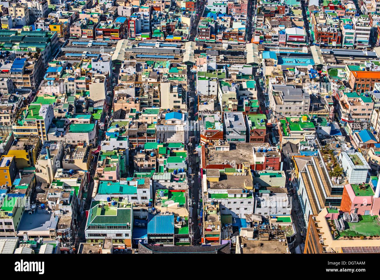 Dächer in Busan, Südkorea. Stockbild