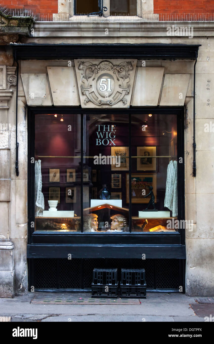 Die Perücke Box, Carey Street, London Stockbild