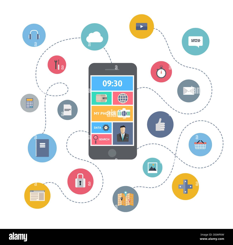 Flaches Design Illustration Konzept der Vielfalt Verwendung von Smartphone mit vielen Multimedia-Symbole Stockbild