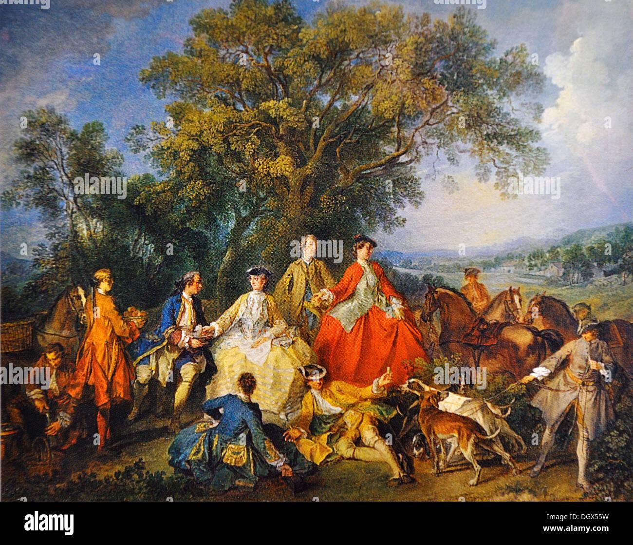Picknick nach der Jagd - von Nicolas Lancret, 1740 Stockbild