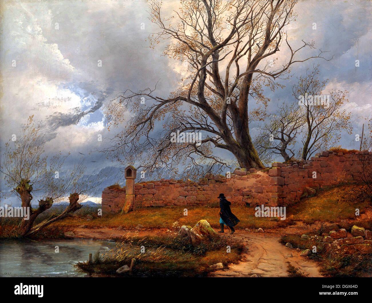 Wanderer im Sturm - von Julius von Leypold, 1835 Stockbild