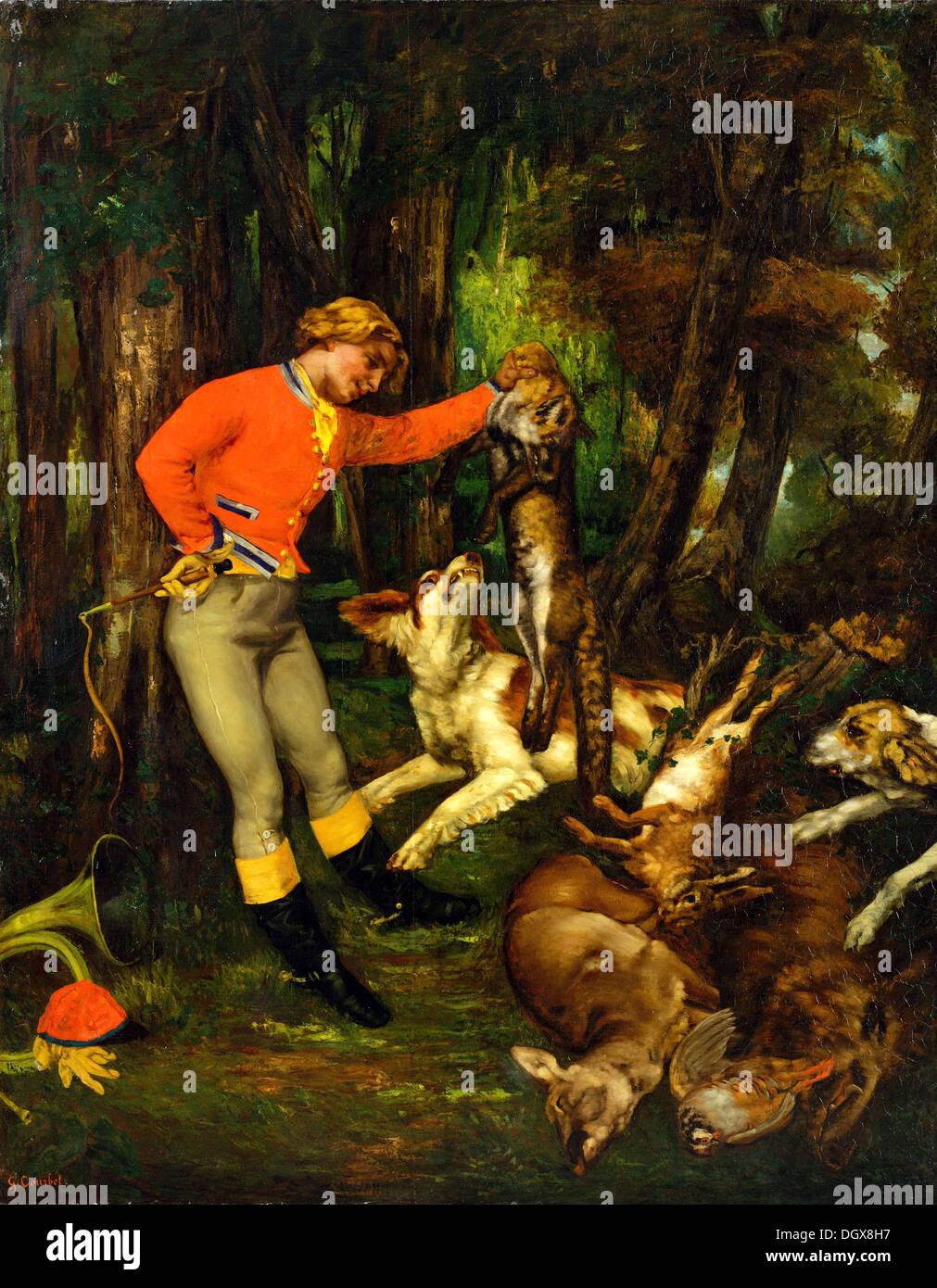 Nach der Jagd - von Gustave Courbet, 1859 Stockbild