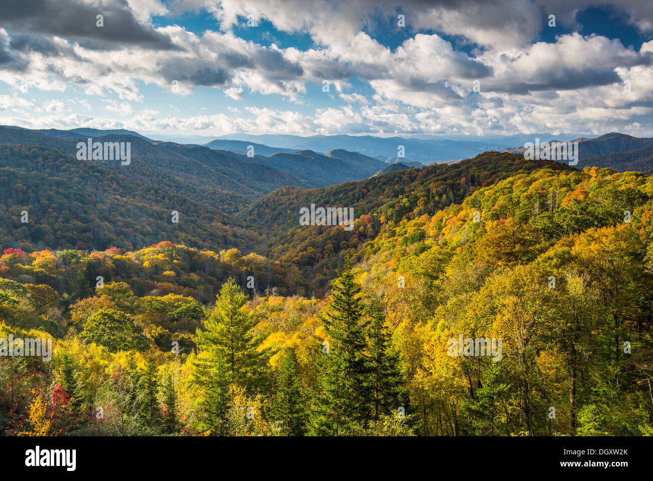 Smoky Mountains Landschaft am Newfound Gap im Herbst. Stockbild