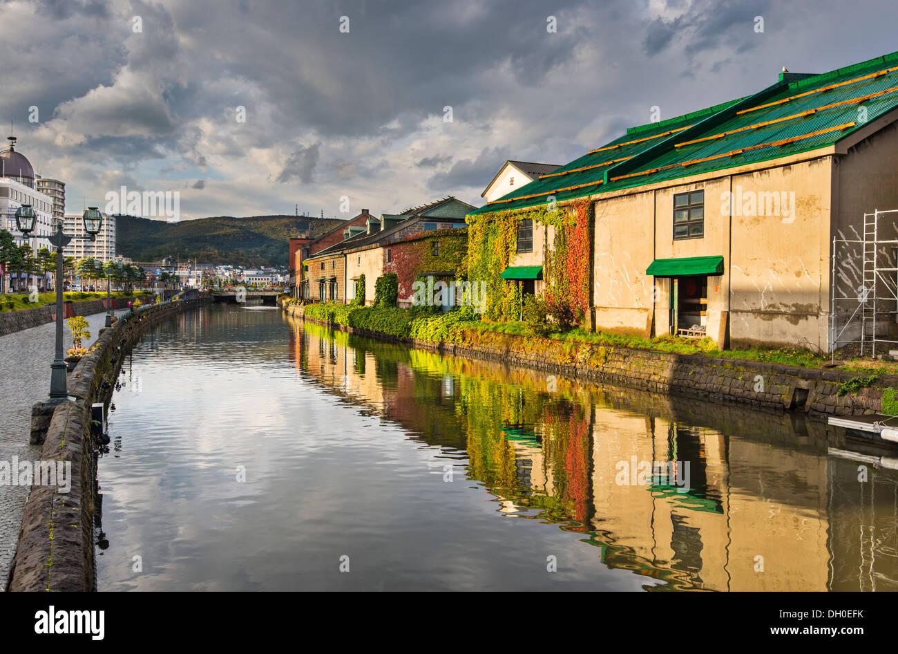 Kanäle von Otaru, Japan. Stockbild