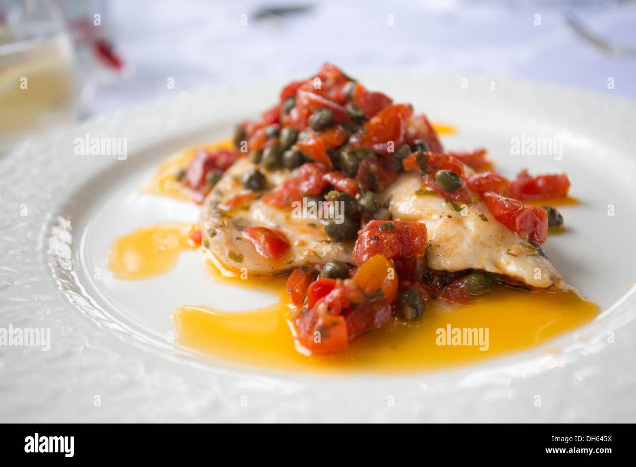 Haute Cuisine feine Restaurants Fisch in einem restaurant Stockbild