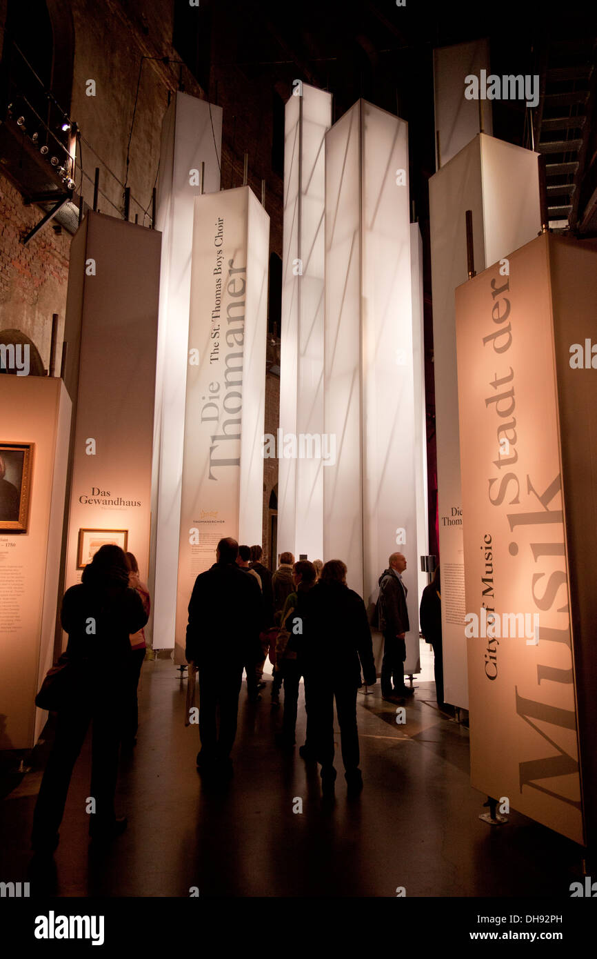 Ausstellung und Yadegar Asisi Panorama der Völkerschlacht bei Leipzig (Völkerschlacht) im Gasometer in Stockbild