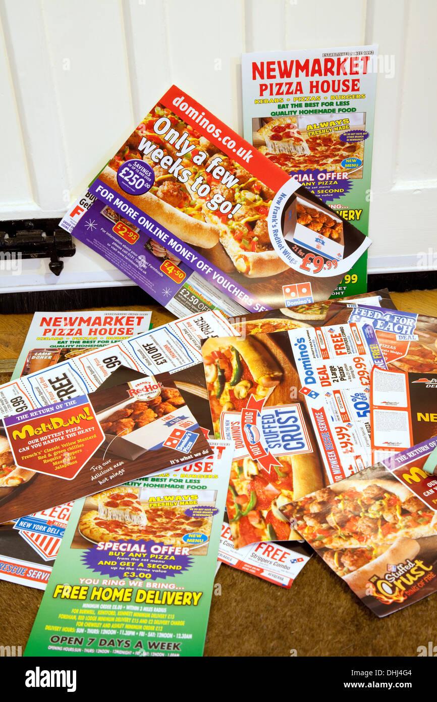 Junk-e-Mail für lokale Pizza Service, England UK Stockbild