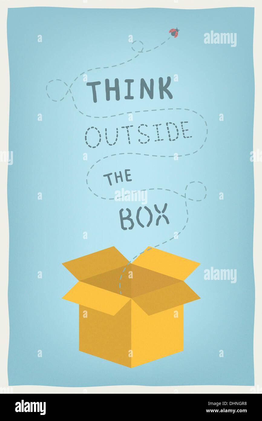 Moderne Illustration Konzept der Motivation und positives Denken und kreative Denkweise mit Hand gezeichneten Texts Stockbild