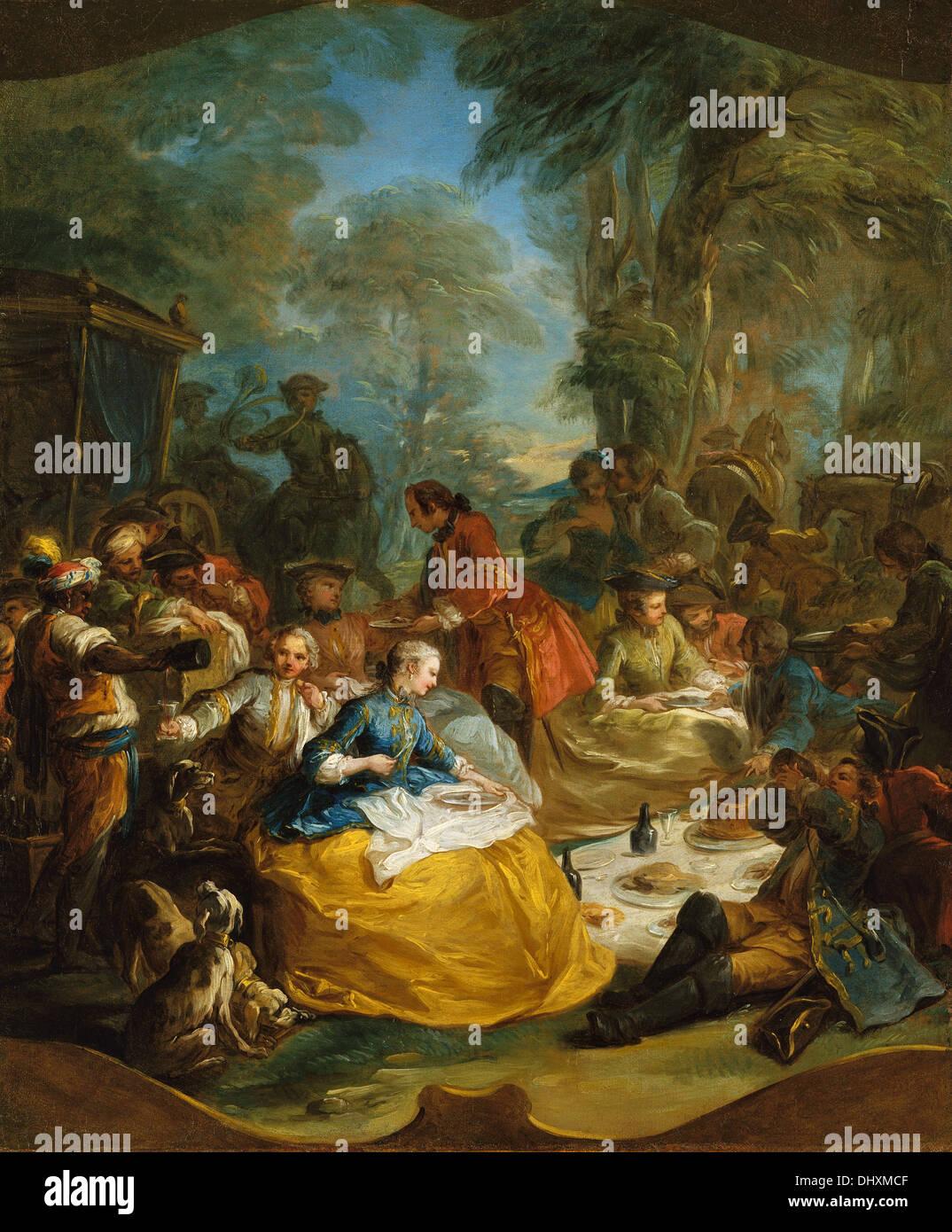 Das Picknick nach der Jagd - von Carle (Charles André) Vanloo, 1700 Stockbild