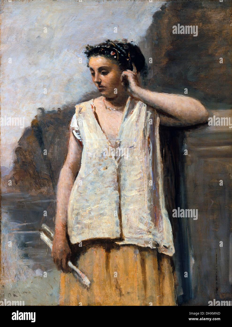Die Muse-Geschichte - von Camille Corot, 1865 Stockbild