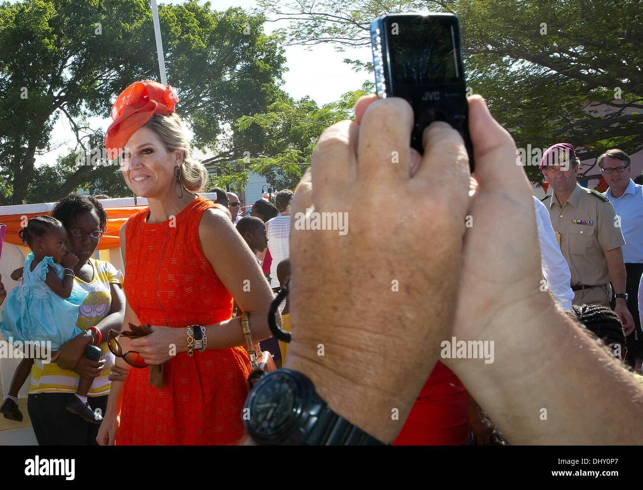St. Eustatius, Karibik. 15. November 2013. HM Königin Maxima Hazel Plantage und das Museum besuchen und kulturelles Stockbild