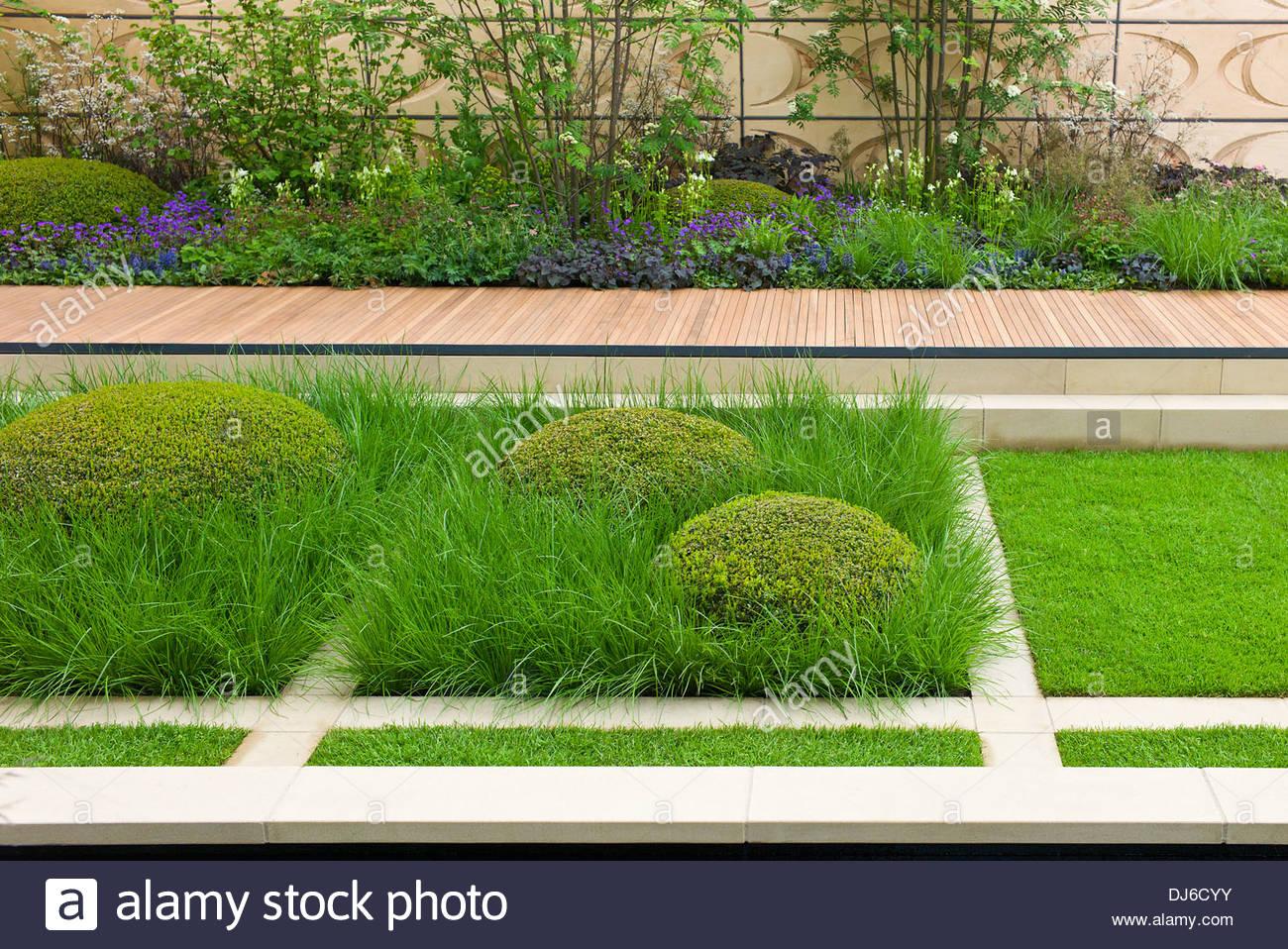 Moderne Garten Mit Formschnitt Box Und Gräsern. Brewin Dolphin Garten  Designer Robert Myers, Chelsea Flower Show
