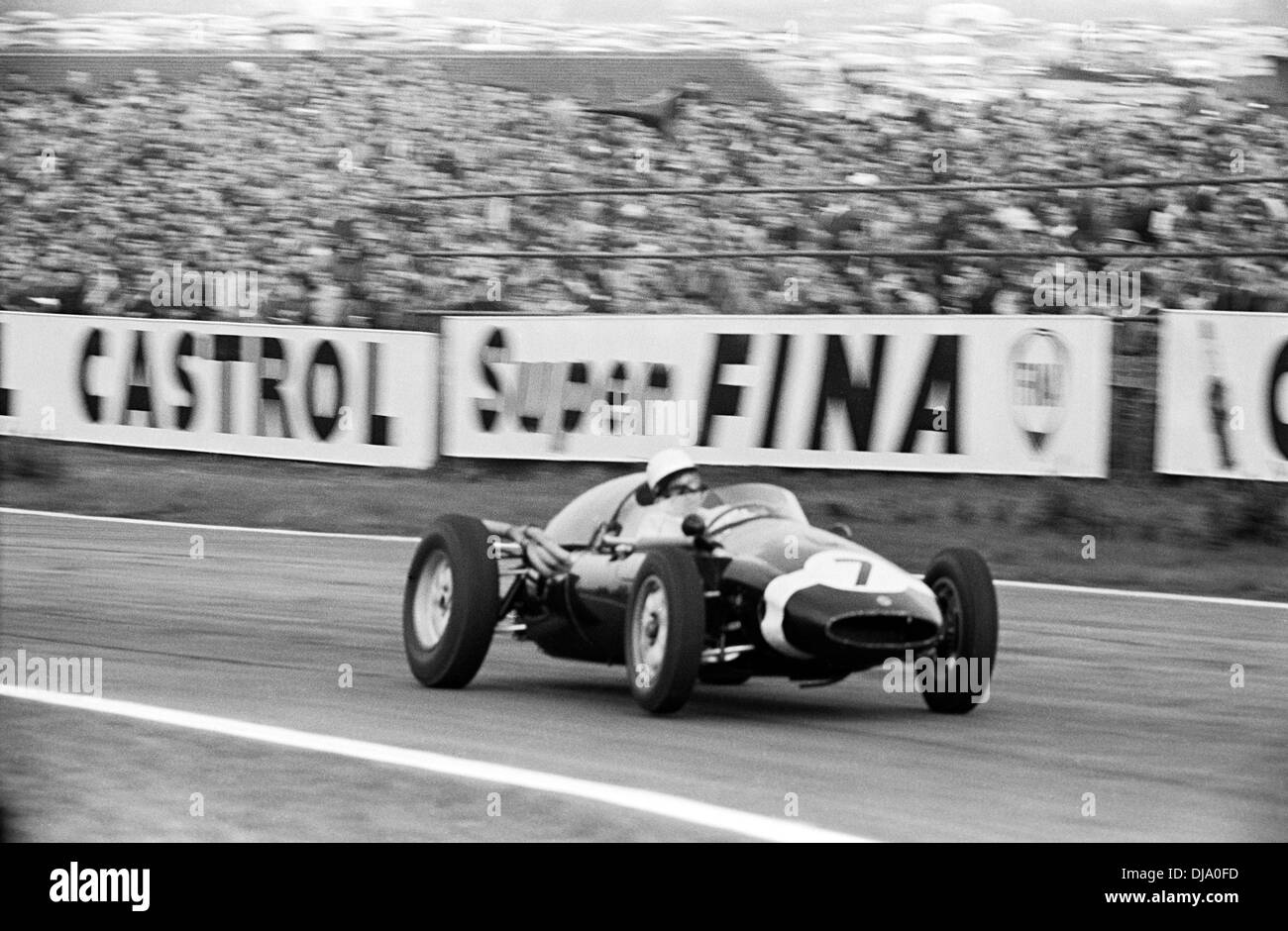 Stirling Moss in Cooper T51 Höhepunkt am Madgwick beendete 2. Ostern in Goodwood, England Montag, 18. April Stockbild